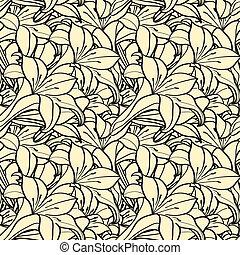 printemps, seamless, fond, monochrome, fleurs, lis