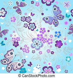 printemps, seamless, modèle floral