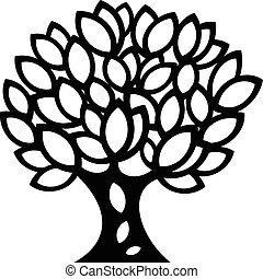 printemps, silhouette, ornements, arbre