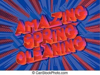 printemps, surprenant, nettoyage