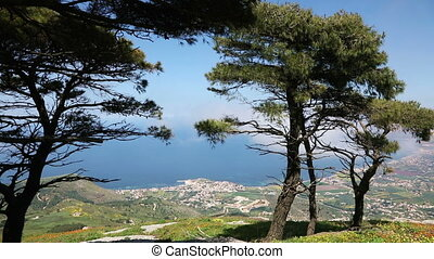 printemps, surprenant, sicilien, paysage, nature