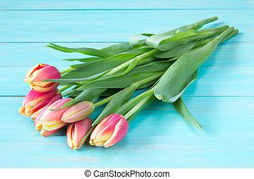 printemps, tas, tulipes
