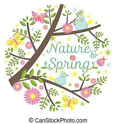 printemps, titre, saison, icônes