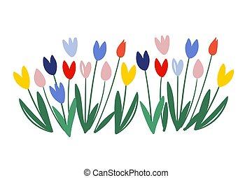printemps, vecteur, coloré, couleur, femmes, 8, blanc, vert, s, tulipes, tulipe, art, international, alley., day., flowers., silhouettes, isolé, -, leaves., tulips., mars, arrière-plan.