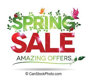 printemps, vente, surprenant, offres, fond, message, blanc