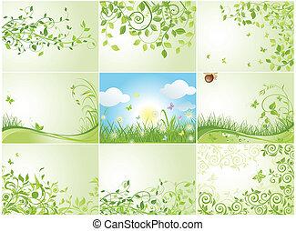 printemps, vert, arrière-plans