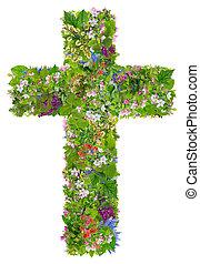 printemps, vert, croix, paques, jésus