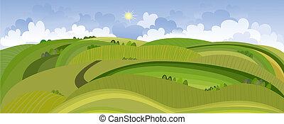 printemps, vue, paysage, champ