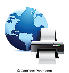 printer and a international globe illustration over a white ...