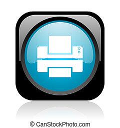 printer black and blue square web glossy icon
