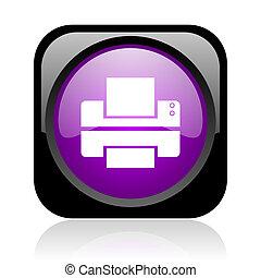 printer black and violet square web glossy icon