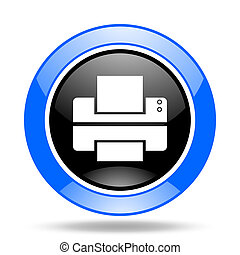 printer blue and black web glossy round icon