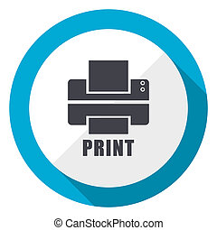 Printer blue flat design web icon