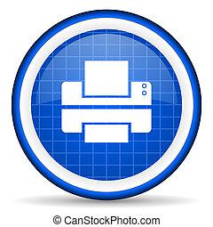 printer blue glossy icon on white background
