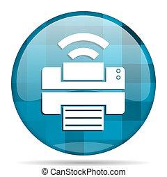 printer blue round modern design internet icon on white background