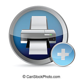 printer button illustration design
