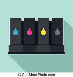 Printer cartridge icon, flat style
