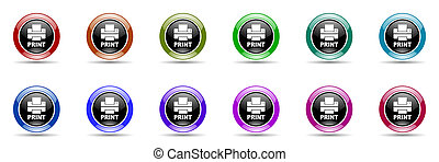 printer colorful round web icon set