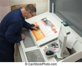 printer, controleren, een, afdrukken, uitvoeren