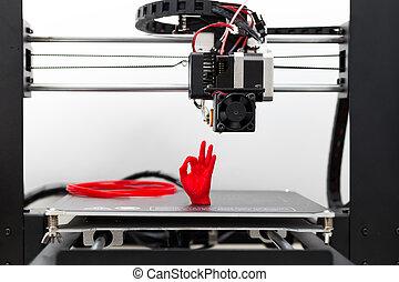 printer, detail, bezig met afdrukken van, rood, gloeidraad,...