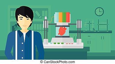printer., ember, átmérő, három