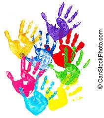 printer, farverig, hånd