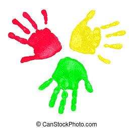 printer, farverig, hænder