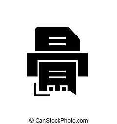 printer - fax icon, vector illustration, black sign on isolated background
