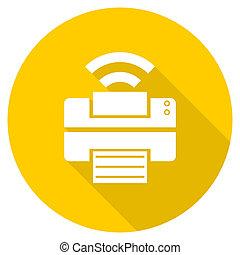 printer flat design yellow web icon