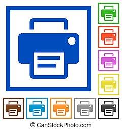 Printer framed flat icons