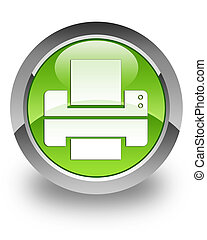 Printer glossy icon - printer icon on glossy green round...