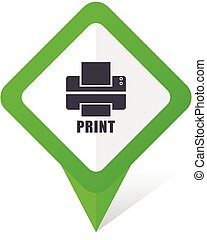 Printer green square pointer vector icon in eps 10 on white background with shadow.