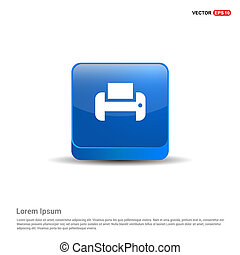 Printer icon - 3d Blue Button
