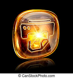 printer icon amber, isolated on black background.