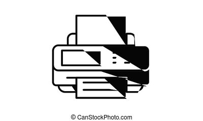 Printer icon animation. Motion set of best icons and then each objects is shown separately