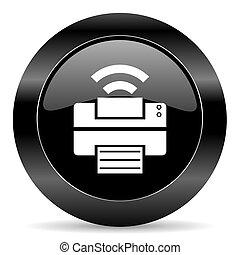 printer icon - black circle web button on white background