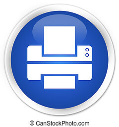 Printer icon blue glossy round button