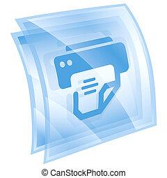 printer icon blue, isolated on white background.