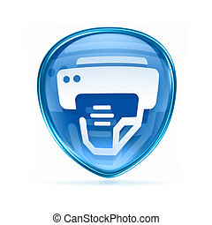printer icon blue, isolated on white background.