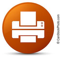 Printer icon brown round button