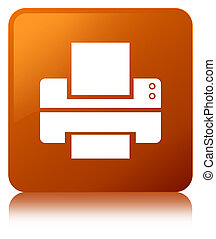 Printer icon brown square button