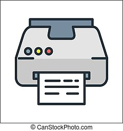 printer icon color illustration design