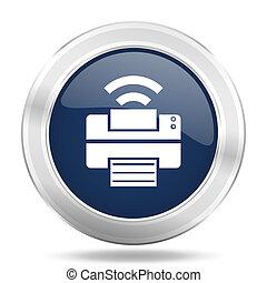 printer icon, dark blue round metallic internet button, web and mobile app illustration