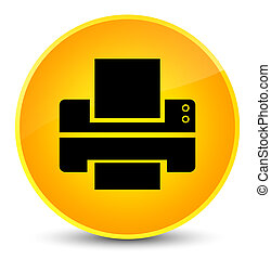 Printer icon elegant yellow round button