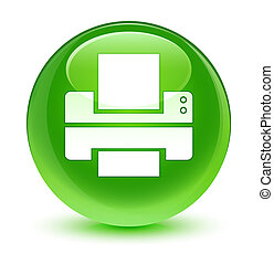 Printer icon glassy green round button