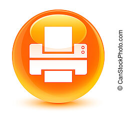 Printer icon glassy orange round button