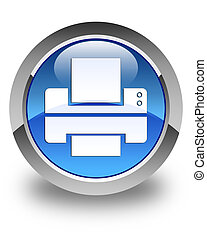 Printer icon glossy blue round button