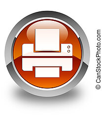 Printer icon glossy brown round button