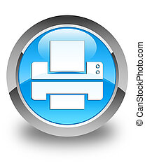 Printer icon glossy cyan blue round button