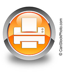 Printer icon glossy orange round button